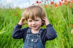 Маленький очаровательный младенец девушки идя на поле мака среди травы Стоковое фото RF