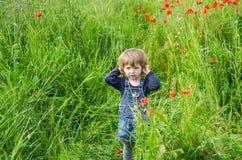 Маленький очаровательный младенец девушки идя на поле мака среди травы Стоковая Фотография