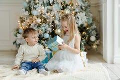 Маленький прелестные брат и сестра сидя около рождественской елки стоковые фото