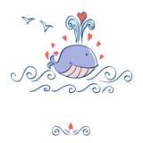 Маленький проиллюстрированный кит с дизайном карточки сердец иллюстрация штока
