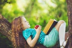 Маленький ребенок лежа на большом дереве и читает книгу стоковая фотография rf