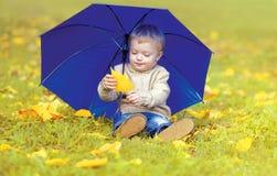Маленький ребенок сидя на траве при зонтик играя с желтыми листьями в осени Стоковые Фото