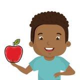 Маленький ребенок с яблоком иллюстрация вектора