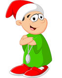 Маленький ребенок шаржа представляя с красной шляпой Стоковое Изображение