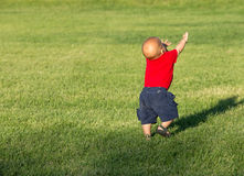 Маленький ребёнок идя в поле Стоковое фото RF