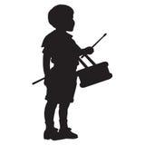 Маленький силуэт мальчика барабанщика Стоковое Изображение RF