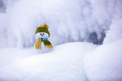 Маленький снеговик в шляпе и шарфе Стоковая Фотография