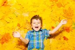 Маленький счастливый кавказский мальчик кладя в листья Стоковое Фото