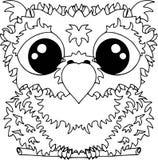 Маленький сыч в плоском стиле Значки для веб-дизайна Животные и птицы расцветка стоковые фото