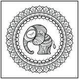 Маленький слон в мандале рамки Нарисованная вручную милая иллюстрация Индийская тема с орнаментами бесплатная иллюстрация