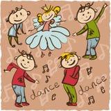 Маленький танец принцессы с ее illus чертежа руки свиты Стоковые Изображения