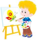 Маленький художник рисует иллюстрация штока