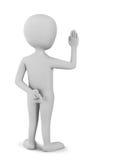 маленький человек 3D присягает пересеченным перстам Стоковые Фото