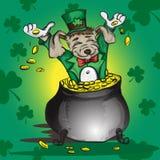 Маленький щенок сидя в баке с золотыми монетками Стоковые Изображения