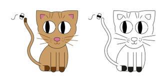 Маленький любознательный котенок с черепашкой на его кабеле Стоковое Фото