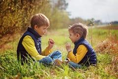 2 маленьких брать играют в утес-бумаг-ножницах сидя на траве Стоковое Изображение RF