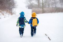 2 маленьких дет, братья мальчика с рюкзаками в парке Стоковое Фото