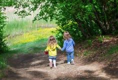 2 маленьких дет идут рука об руку Стоковая Фотография