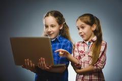 2 маленьких интересуя девушки используя компьтер-книжку изолировали серую предпосылку Стоковые Изображения RF