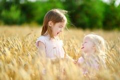 2 маленьких сестры в пшеничном поле на летний день Стоковые Фото