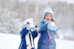 2 маленьких сестры имея потеху на зиме Стоковое Изображение RF