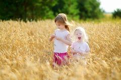2 маленьких сестры идя счастливо в пшеничное поле Стоковые Изображения