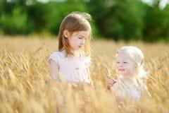 2 маленьких сестры идя счастливо в пшеничное поле Стоковая Фотография RF