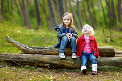 2 маленьких сестры сидя на большом журнале Стоковое Изображение