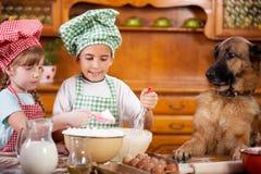 2 маленьких шеф-повара наслаждаясь в кухне делая большой беспорядок немецко Стоковая Фотография RF