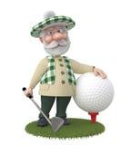 маленькое golfist человека 3d. Стоковое Фото