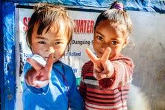 2 маленькой девочки в Непале Стоковое Фото