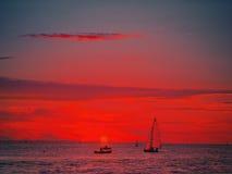 Малиновый заход солнца Стоковое Фото