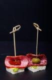 Малое канапе закусок с салями, хлебом и салатом на протыкальнике дальше Стоковое Фото
