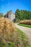 Малое старое средневековое здание в кукурузном поле Стоковое фото RF