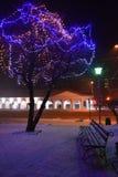 Малые города России Ландшафт ночи на Новый Год Стоковое фото RF