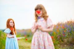Малые девушки играя с цветками в поле лета Выбранное foc Стоковые Изображения