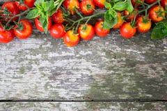 Малые красные томаты вишни на старом деревянном столе в деревенском стиле Стоковое Изображение