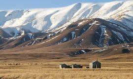 Малые хаты на Tussockland под Snowcapped горами Стоковая Фотография RF