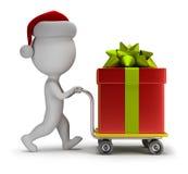 малые люди 3d - Санта носит подарок иллюстрация штока