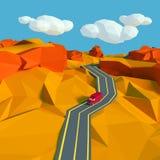 Малый ландшафт с дорогой в пустыне Стоковое фото RF