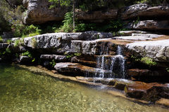 Малый водопад в d'Aïtone Foret, Корсике, Франции стоковое фото