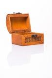 Малый деревянный маленький комод на белизне Стоковое фото RF