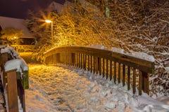 Малый деревянный мост в зиме Стоковое Изображение RF