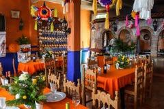 Малый интерьер ресторана в Janitzio Мексике Стоковое Изображение RF