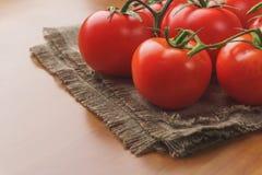 Малый красный деревянный стол томатов вишни Ферма земледелия рынка подноса лета Стоковые Изображения RF