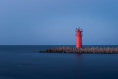 Малый красный маяк, бар Ras El, Думьят, Египет Стоковое Фото
