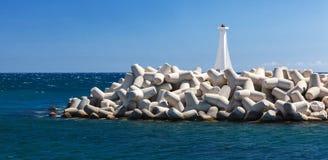 Малый маяк в Марине Zygi Кипр Стоковые Фотографии RF