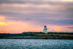Малый маяк на Lista в Норвегии Стоковые Фото