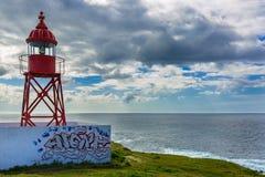 Малый маяк около порта Ponta Delgada Стоковая Фотография RF