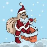 Малый щенок в костюме santa взбирается в трубу Стоковое Изображение